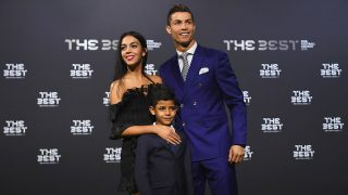 ZURICH, SWITZERLAND - JANUARY 09:  The Best FIFA Men's Player nominee Cristiano Ronaldo of Portugal and Real Madrid poses with Georgina Rodriguez and his son Ronaldo Junior as they arrive for The Best FIFA Football Awards at TPC Studio on January 9, 2017 in Zurich, Switzerland.  (Photo by Mike Hewitt - FIFA/FIFA via Getty Images)