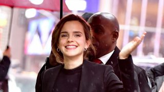 """NEW YORK, NY - MARCH 10:  Emma Watson arrives to ABC's """"Good Morning America"""" in Times Square on March 10, 2017 in New York City.  (Photo by James Devaney/GC Images)"""
