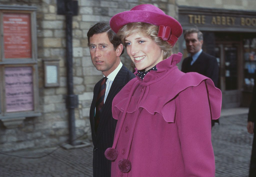 Prince Charles and the Princess of Wales (1961 - 1997, later Diana, Princess of Wales) at Westminster Abbey, London, for a centenary service for the Royal College Of Music, 28th February 1982. (Photo by Fox Photos/Hulton Archive/Getty Images)