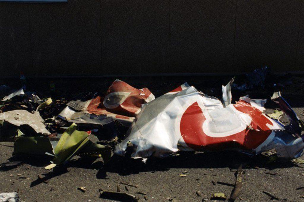 Arlington, 2017. március 31.A Szövetségi Nyomozó Iroda, az FBI által 2017. március 31-én közzétett, korábban még nem közölt, dátumozatlan kép az amerikai védelmi minisztérium, a Pentagon arlingtoni épületébe csapódott, eltérített American Airlines 77-es járatának maradványairól a 2001. szeptember 11-i repülőgépes terrortámadás után. (MTI/EPA/FBI)
