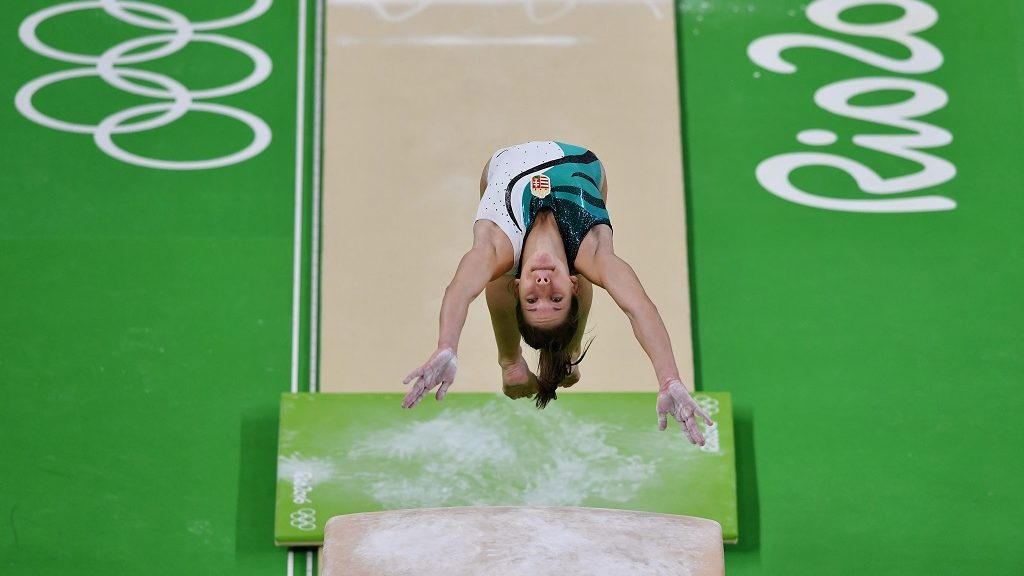 Hungary's Zsofia Kovacs practices on the vault of the women's Artistic gymnastics at the Olympic Arena on August 4, 2016 ahead of the Rio 2016 Olympic Games in Rio de Janeiro. / AFP PHOTO / Ben STANSALL