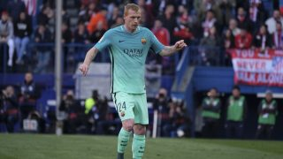 Jeremy Mathieu of FC Barcelona during of the La Liga match between Club Atletico de Madrid and FC Barcelona at Vicente Calderon Stadium on February 26, 2017 in Madrid, Spain.  (Photo by Oscar Gonzalez/NurPhoto)