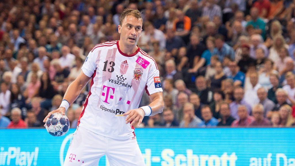 Veszprem's Momir Ilic in action during the Champions League handball match between SG Flensburg-Handewitt and Telekom Veszprem in the Flens Arena in Flensburg, Germany, 24 September 2016. Photo:BENJAMINNOLTE/dpa