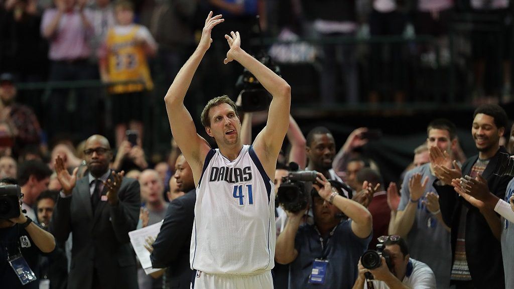 DALLAS, TX - MARCH 07: Dirk Nowitzki #41 of the Dallas Mavericks celebrates after scoring his 30,000 career point in the second quarter against the Los Angeles Lakers at American Airlines Center on March 7, 2017 in Dallas, Texas. NOTE TO USER: User expressly acknowledges and agrees that, by downloading and/or using this photograph, user is consenting to the terms and conditions of the Getty Images License Agreement.   Ronald Martinez/Getty Images/AFP