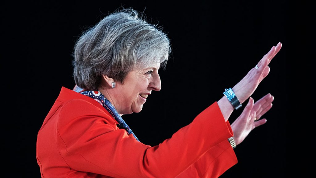 CARDIFF, WALES - MARCH 17:  British Prime Minister Theresa May speaks at the Conservative Spring Forum on March 17, 2017 in Cardiff, Wales. In her speech the Prime Minister set out her desire to create a more united Britain which follows demands by leader of the SNP, Nicola Sturgeon, for a second independence referendum for Scotland  (Photo by Matt Cardy/Getty Images)