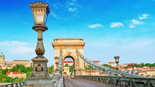 Szechenyi Chain Bridge at morning time. Budapest, Hungary.