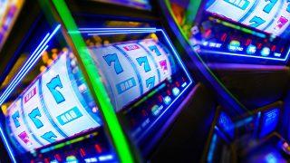 Slot Machine Casino Mania. Vegas Play and Fun Conceptual Photo.