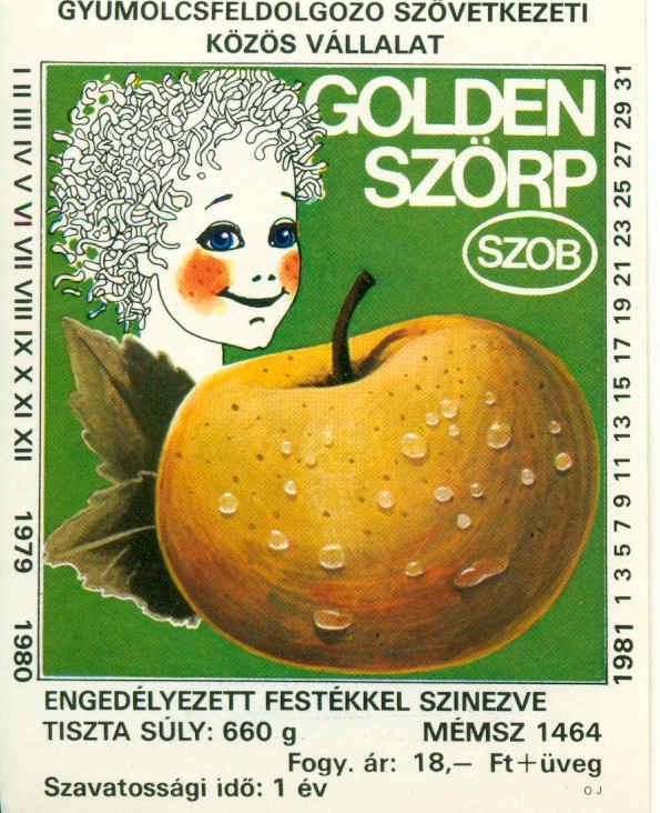 Fehér kereten fekete feliratok, benne zöld alapon egy kócos, mosolygós kislány képe, előtte egy golden alma és fehér felirat.