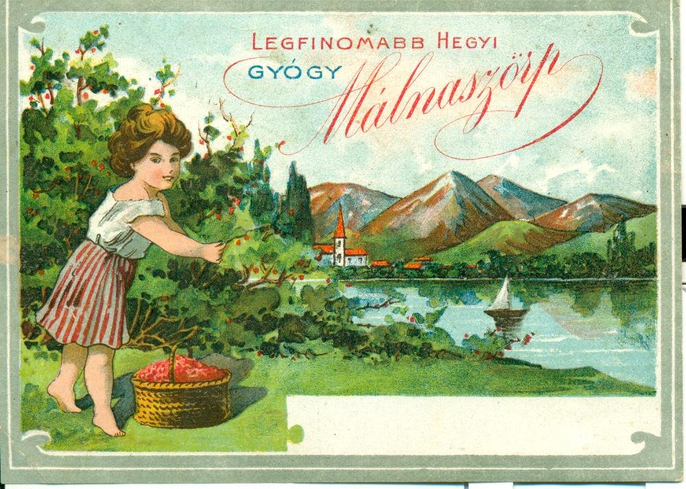 Szürke keretben hegyvidéki tájkép kis faluval és tóval, azon hajóval. Az előtérben egy kislány málnát szed éppen. Legfinomabb hegyi gyógy málnaszörp.