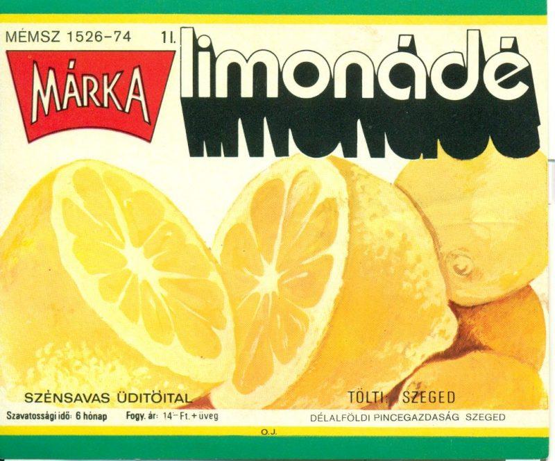 Zöld és sárga keretben nagy citromok képe, fölötte feliratok. 1973-ban a Borgazdasági Vállalatok Trösztje laboratóriumi kísérletek révén létre hozta a Márka üdítőitalt, aminek az első tagja a Márka szőlő volt.Ez volt az első olyan üdítő, amit teljes egészében magyarországi alapanyagból állítottak elő.