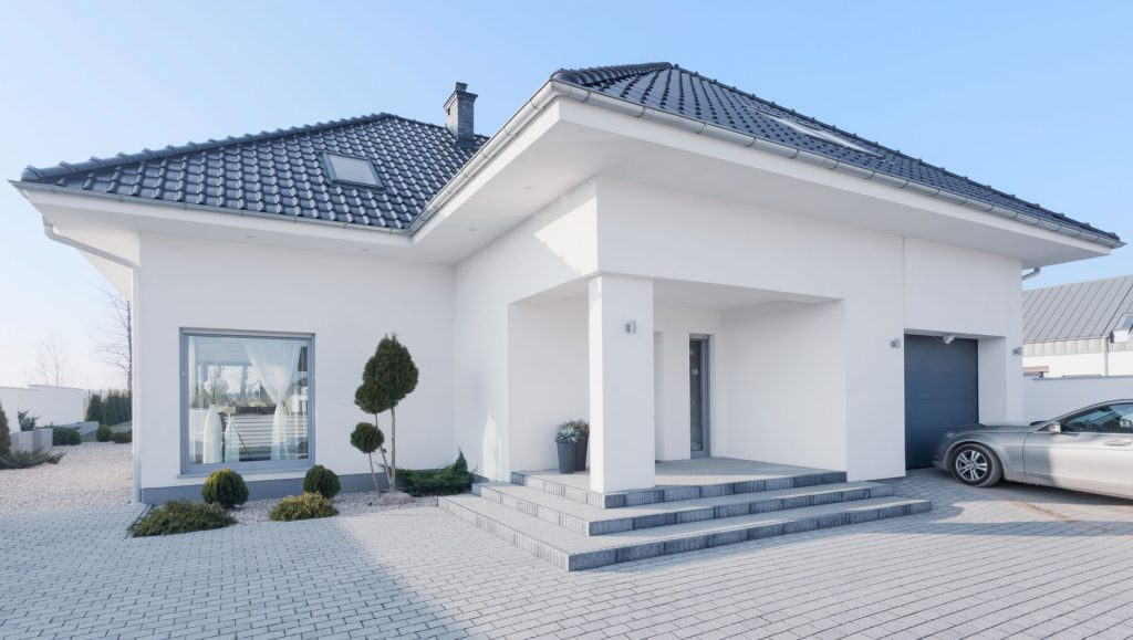 43692382 - view from outside of enormous modern villa
