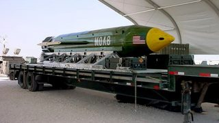 """(FILES) Undated file image courtesy the US Air Force shows the GBU-43/B Massive Ordnance Air Blast (MOAB) bomb sitting in an undisclosed location in theater of the Global War on Terror waiting to be used.  The US military on April 13, 2017 dropped what is considered to be the largest non-nuclear bomb on an Islamic State complex in Afghanistan, the Pentagon said.The GBU-43/B Massive Ordnance Air Blast bomb hit a """"tunnel complex"""" in Achin district in Nangarhar province, US Forces Afghanistan said in a statement. / AFP PHOTO / US AIR FORCE / Handout / RESTRICTED TO EDITORIAL USE - MANDATORY CREDIT """"AFP PHOTO / US AIR FORCE"""" - NO MARKETING NO ADVERTISING CAMPAIGNS - DISTRIBUTED AS A SERVICE TO CLIENTS == NO ARCHIVE"""