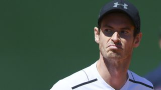 Britain's Andy Murray reacts after being defeatead by Spain's  Albert Ramos-Vinolas at the end of their Monte-Carlo ATP Masters Series tennis tournament on April 20, 2017 in Monaco. / AFP PHOTO / Yann COATSALIOU