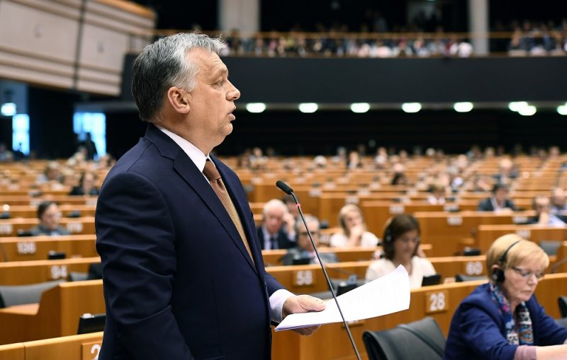 Hungary's Prime Minister Viktor Orban addresses the planery session at the European Parliament on the situation in Hungary, in Brussels on Avril 26, 2017.  The EU parliament heard Orban on rights record and a series of controversial decisions that has sparked concerns about possible European Union punishments against his country. / AFP PHOTO / EMMANUEL DUNAND