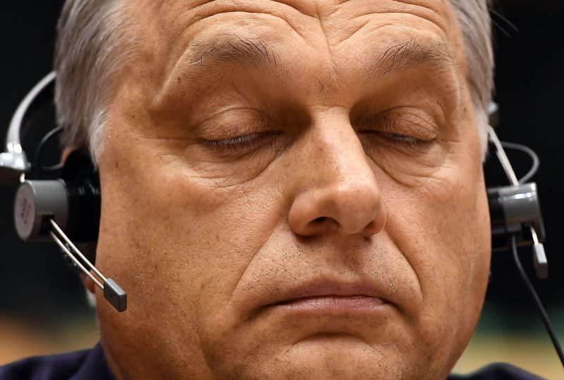 Hungary's Prime Minister Viktor Orban takes part in a planery session at the European Parliament on the situation in Hungary, in Brussels on Avril 26, 2017.  The EU parliament heard Orban on rights record and a series of controversial decisions that has sparked concerns about possible European Union punishments against his country. / AFP PHOTO / EMMANUEL DUNAND