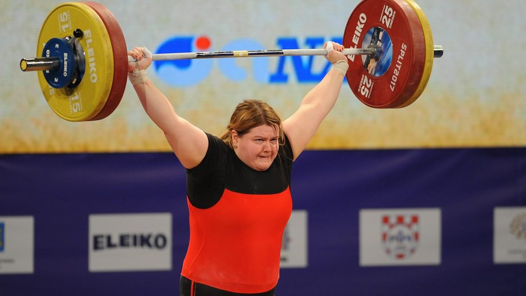 SPLIT, CROATIA - APRIL 08 : Krisztina Magat of Hungary gestures during the Women's Final +90 kg competition of the Weightlifting European Championships 2017 in Split, Croatia on April 08, 2017. Stringer / Anadolu Agency