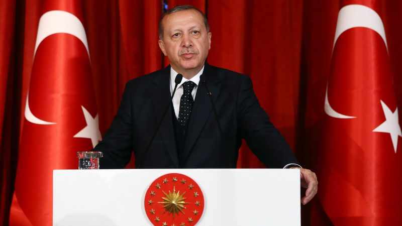 ISTANBUL, TURKEY - APRIL 27 : Turkish President Recep Tayyip Erdogan speaks during a gala dinner marking the 55th Foundation Anniversary of Constitutional Court at Historic Beykoz Pavilion in Istanbul, Turkey on April 27, 2017. Kayhan Ozer / Anadolu Agency