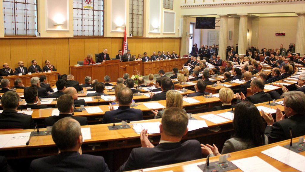 ZAGREB, CROATIA - DECEMBER 28:  Parliament members are seen during a session to elect the new speaker of the Croatia's parliament, in Zagreb, Croatia on December 28, 2015. Stipe Mayic / Anadolu Agency