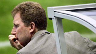 Latvian head coach Aleksandrs Starkovs looks at the pitch, 23 June 2004 at Braga's stadium, during the Euro 2004 Group D football match between Netherlands and Latvia at the European Nations championship in Portugal.  AFP PHOTO Janek SKARZYNSKI / AFP PHOTO / JANEK SKARZYNSKI