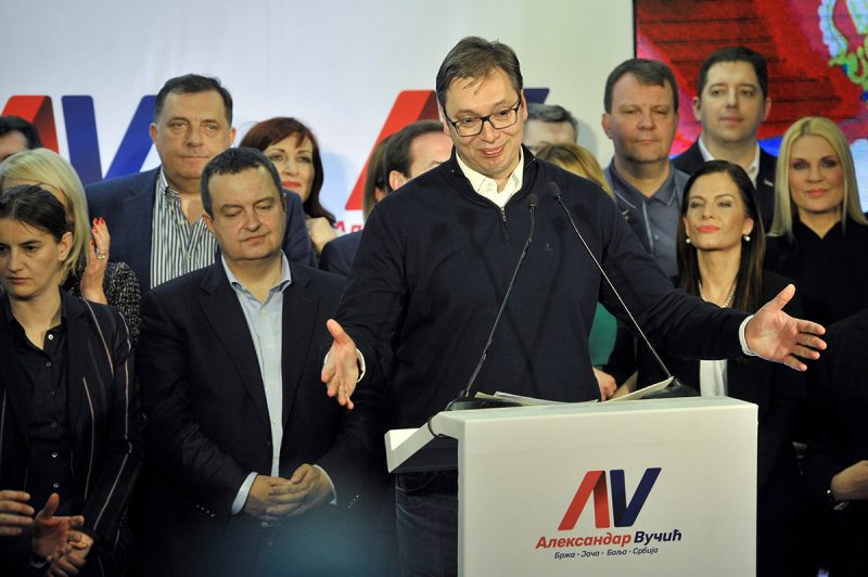 BELGRADE, SERBIA - APRIL 02:  Serbia's conservative Prime Minister Aleksandar Vucic declares victory in the presidential elections at the Progressive Party's headquarters in Belgrade, Serbia on April 02, 2017. Vucic avoided a run-off by winning 55 percent of the votes, according to Ipsos polling group -- the first presidential candidate in 25 years to do so. Samir Yordamovic / Anadolu Agency