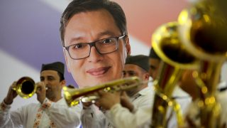 BELGRADE, SERBIA - APRIL 02: Trumpeters perform before Serbia's conservative Prime Minister Aleksandar Vucic speak to media to declare victory in the presidential elections at the Progressive Party's headquarters in Belgrade, Serbia on April 02, 2017. Vucic avoided a run-off by winning 55 percent of the votes, according to Ipsos polling group -- the first presidential candidate in 25 years to do so. Samir Yordamovic / Anadolu Agency