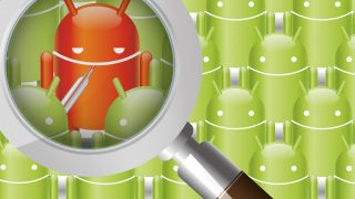 10706405 - magnifying glass scanning android for a infected one