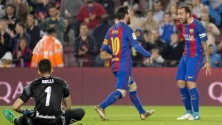 BARCELONA, SPAIN - APRIL 15: Lionel Messi (C) of Barcelona celebrates with his teammate Paco Alcacer (R) after scoring a goal during the Spanish League match between the FC Barcelona and Real Sociedad at the Camp Nou Stadium in Barcelona, Spain on April 15, 2017.  Albert Llop / Anadolu Agency