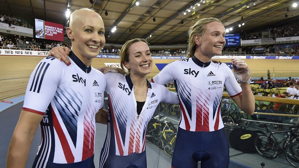 Britain's Elinor Barker, Britain's Joanna Rowsell-Shand and Britain's Ciara Horne celebrate taking bronze in the Women's Team Pursuit final during the 2016 Track Cycling World Championships at the Lee Valley VeloPark in London on March 4, 2016 / AFP PHOTO / Eric FEFERBERG