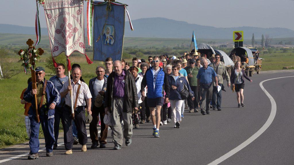 Csíkrákos, 2015. május 22. Keresztaljakban vonulnak a zarándokok a Csíki-medencében, Csíkrákos közelében 2015. május 22-én. Az idén május 23-án, a pünkösdvasárnap elõtti szombaton rendezik meg a csíksomlyói búcsút, az összmagyarság egyik legjelentõsebb vallási és nemzeti ünnepét. MTI Fotó: Máthé Zoltán
