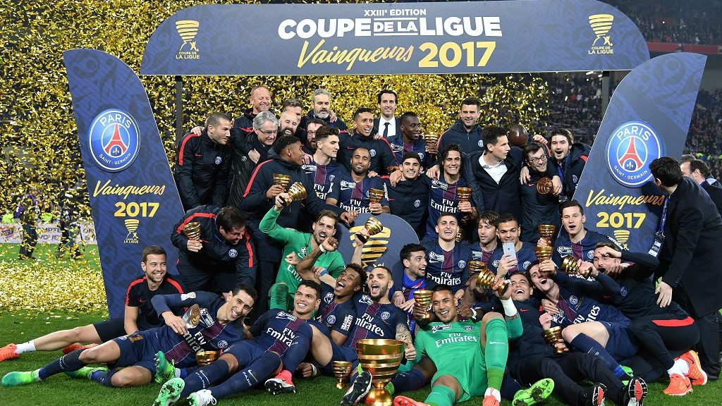 LYON, FRANCE - APRIL 1 : PSG players celebrate with their trophies after winning the French League Cup final football match between AS Monaco and Paris Saint-Germain at the Stade des Lumieres in Lyon, France on April 1, 2017. PHILIP ROCK / Anadolu Agency