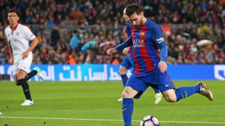 Leo Messi during La Liga match between F.C. Barcelona v Sevilla CF, in Barcelona, on April 05, 2017.  (Photo by Urbanandsport/NurPhoto)