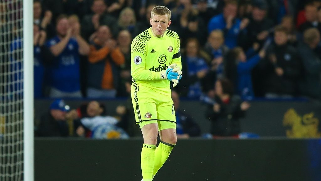 Sunderland goalkeeper Jordan Pickford during the English championship Premier League football match between Leicester City and Sunderland on April 4, 2017 at the King Power Stadium in Leicester, England - Photo Simon Davies / ProSportsImages / DPPI
