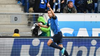 Hoffenheim's Adam Szalai cheers over the 1-0 score during the German Bundesliga soccer match between 1899 Hoffenheim and Borussia Moenchengladbach at the Rhein-Neckar-Arenain Sinsheim,Germany, 15 April 2017.   (EMBARGO CONDITIONS - ATTENTION: Due to the accreditation guidelines, the DFL only permits the publication and utilisation of up to 15 pictures per match on the internet and in online media during the match.) Photo: Uwe Anspach/dpa