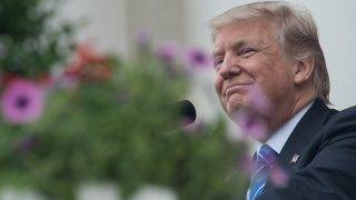 """(FILES) This file photo taken on May 29, 2017 shows US President Donald Trump  at Arlington National Cemetery to mark Memorial Day in Arlington, Virginia. Not for the first time, a Donald Trump tweet has lit up the internet. But this time, users the world over have been left scratching their heads over """"covfefe"""": a bizarre word apparently created by the president.""""Despite the constant negative press covfefe,"""" read the US leader's short tweet sent early May 31, 2017. Was it an acronym? A secret message? Or just a typo? Wags around the world weighed in with biting sarcasm, and #covfefe quickly became the top trending item on Twitter.  / AFP PHOTO / NICHOLAS KAMM"""