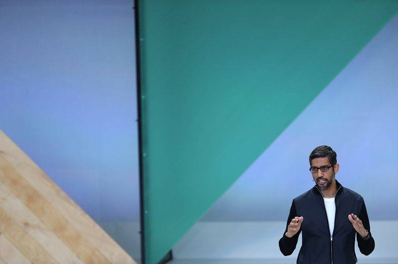 MOUNTAIN VIEW, CA - MAY 17: Google CEO Sundar Pichai delivers the keynote address at the Google I/O 2017 Conference at Shoreline Amphitheater on May 17, 2017 in Mountain View, California. The three-day conference will highlight innovations including Google Assistant.   Justin Sullivan/Getty Images/AFP