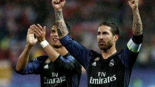MADRID, SPAIN - MAY 10: Sergio Ramos (R) and Cristiano Ronaldo (L) of Real Madrid gesture after winning the UEFA Champions League semi final second leg match between Atletico Madrid and Real Madrid at Vicente Calderon Stadium in Madrid, Spain on May 10, 2017.  Burak Akbulut / Anadolu Agency