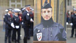 PARIS, FRANCE - APRIL 25 : Poster of killed police officer Xavier Jugele is seen during ceremony at the Paris police headquarters in Paris, France on April 25, 2017. Xavier Jugele was killed by terrorist attack at the Champs Elysees on 20 April 2017 Chris Nail / Anadolu Agency