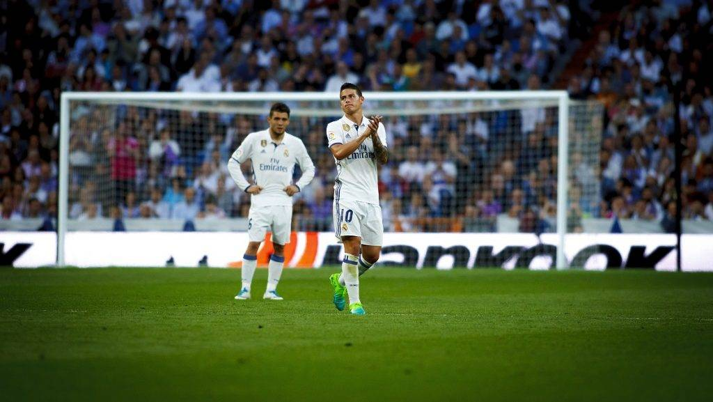 MADRID, SPAIN - MAY 14: James Rodriguez of Real Madrid is seen during the La Liga match between Real Madrid and Sevilla at Santiago Bernabeu Stadium in Madrid, Spain on May 14, 2017. Guillermo Martinez / Anadolu Agency