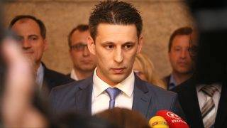 ZAGREB, CROATIA - APRIL 28: Speaker of the Croatian Parliament and the leader of the MOST Bozo Petrov speaks to media on government crisis in Zagreb, Croatia on April 28, 2017. Stipe Mayic / Anadolu Agency