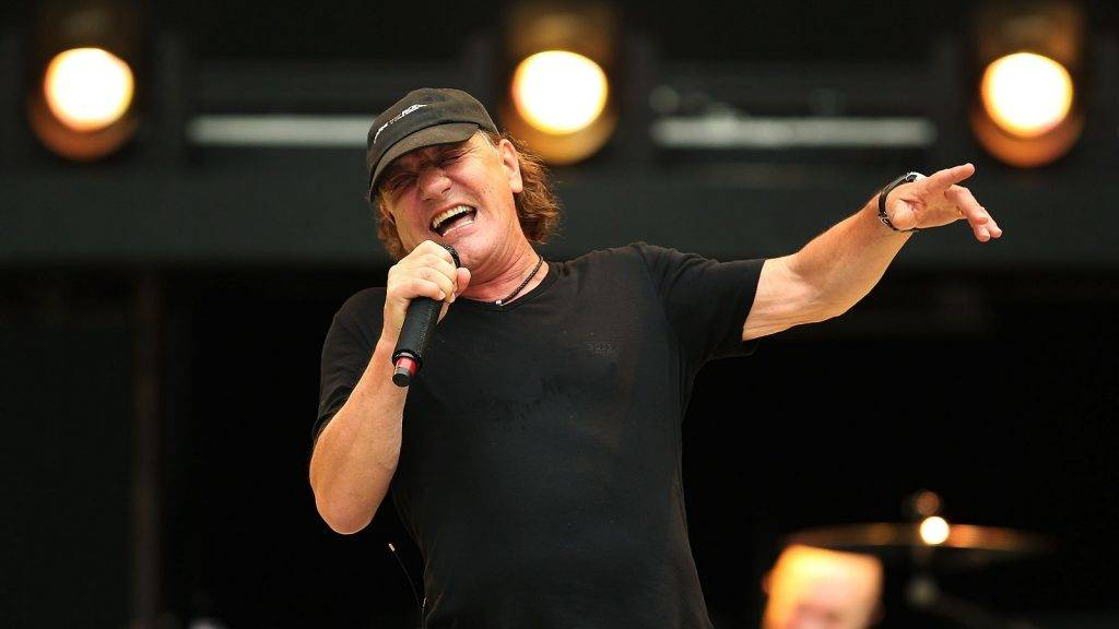AC/DC perform during a media call ahead of their 'Rock or Bust' world tour at ANZ Stadium on November 3, 2015 in Sydney, Australia.