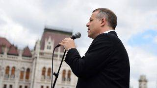Budapest, 2017. május 8.Juhász Péter, az Együtt elnöke pártja Áder János köztársasági elnök újraválasztásakor tartott demonstrációján az Országház előtt 2017. május 8-án.MTI Fotó: Balogh Zoltán