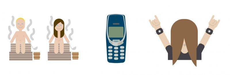 """This handout picture released by the Finnish Ministry of Foreign Affairs shows the emojis 'Sauna' (L), 'Unbreakable (Nokia, 3310)' and 'Heavy metal dude' (R) by Art Director Bruno Leo Ribeiro. This year, Finland has launched a special online Christmas calendar set of emojis, featuring naked sauna-goers, heavy-metal lovers and even an old Nokia handset -- all symbols of Finnish culture, the foreign ministry said on November 5, 2015.  AFP PHOTO / LEHTIKUVA / FINNISH MINISTRY FOR FOREIGN AFFAIRS +++ FINLAND OUT RESTRICTED TO EDITORIAL USE - MANDATORY CREDIT """"AFP PHOTO / LEHTIKUVA / FINNISH MINISTRY FOR FOREIGN AFFAIRS"""" - NO MARKETING NO ADVERTISING CAMPAIGNS - DISTRIBUTED AS A SERVICE TO CLIENTS / AFP PHOTO / FINNISH MINISTRY FOR FOREIGN AFF / FINNISH MINISTRY FOR FOREIGN AFF"""
