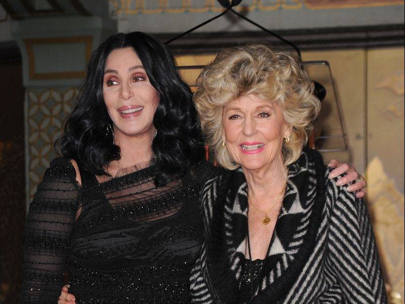 HOLLYWOOD - NOVEMBER 18:  Singer/actress Cher and mom Georgia Holt pose as Cher is immortalized with hand and footprint ceremony at Grauman's Chinese Theatre on November 18, 2010 in Hollywood, California.  (Photo by Jason Merritt/Getty Images)