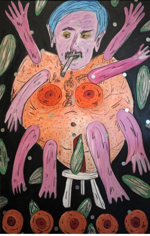 Budapest, 2009. június 25. Máriás Béla, Kovi, mint gumibaba és néhány kovi-uborka címû farost, vegyestechnikával készült festménye 200.000 forint kikiáltási áron kerül kalapács alá az ErotikART aukción a Holdudvar Galériában, a Margitszigeten. MTI Fotó