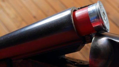 Firearms: ammunition or shells are loaded in a breech loading side by side double barrel 12 gauge shotgun.