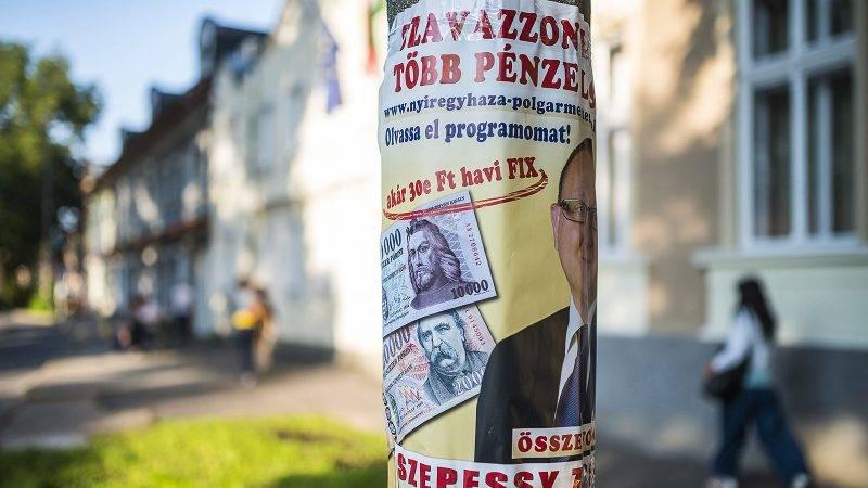 Nyíregyháza, 2014. szeptember 18.Szepessy Zsolt, az Összefogás Párt és a Nyíregyháza Jövőjéért Egyesület támogatásával induló polgármesterjelölt plakátja Nyíregyházán, a Dózsa György utcán 2014. szeptember 18-án.MTI Fotó: Balázs Attila