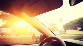 driving through the sunrise on thailand