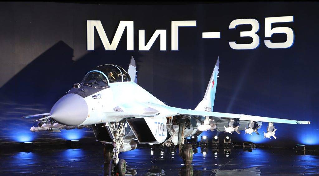 A Russian multipurpose jet fighter MiG-35 is displayed on a podium during its presentation at the MiG plant in Lukhovitsy on January 27, 2017. The MiG-35 jet fighter is a further development of the MiG-29.  / AFP PHOTO / Marina LYSTSEVA