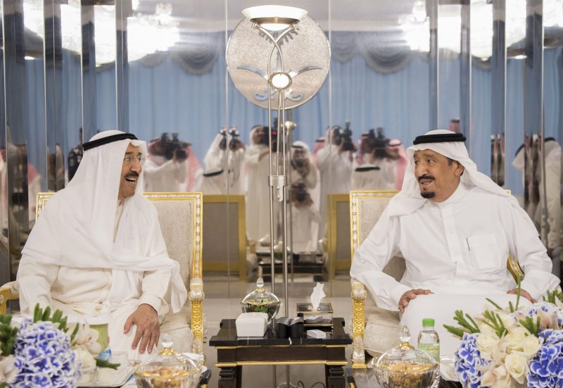 """A handout picture provided by the Saudi Royal Palace on June 6, 2017, shows Saudi's King Salman bin Abdulaziz al-Saud (R) meeting with Kuwait's Emir Sheikh Sabah al-Ahmad al-Jaber al-Sabah in the Red Sea city of Jeddah. The Emir travelled to Saudi Arabia for talks aimed at resolving the crisis between Qatar and its Gulf neighbours. / AFP PHOTO / Saudi Royal Palace / BANDAR AL-JALOUD / RESTRICTED TO EDITORIAL USE - MANDATORY CREDIT """"AFP PHOTO / SAUDI ROYAL PALACE / BANDAR AL-JALOUD"""" - NO MARKETING - NO ADVERTISING CAMPAIGNS - DISTRIBUTED AS A SERVICE TO CLIENTS"""