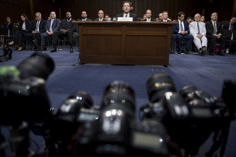 Ousted FBI director James Comey speaks during a hearing before the Senate Select Committee on Intelligence on Capitol Hill June 8, 2017 in Washington, DC. Fired FBI director James Comey took the stand Thursday in a crucial Senate hearing, repeating explosive allegations that President Donald Trump badgered him over the highly sensitive investigation Russia's meddling in the 2016 election. / AFP PHOTO / Brendan Smialowski